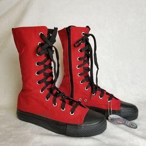 Demonia Deviant- 201 Canvas Calf Sneaker Boot